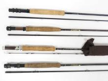 LOT (4) ST. CROIX GRAPHITE FLY FISHING RODS. LENGTH 8'-9'