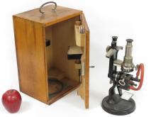 VINTAGE CARL ZEISS, JENA MONOCULAR MICROSCOPE WITH CASE AND ACCESSORIES