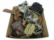 BOX LOT ASSORTED PISTOL CASES, CARTRIDGE BELTS & HOLSTERS INCLUDING COLT