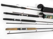 LOT (4) ASSORTED CASTING RODS INCLUDING BROWNING 9' CASTING NOODLE FLY ROD WITH HARD CASE