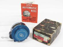 VINTAGE HORROCKS-IBBOTSON, UTICA #7 AUTOMATIC REEL WITH ORIGINAL BOX AND PAPERS