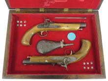 CASED PAIR 45 CAL PERCUSSION DUELING PISTOLS WITH SHOT FLASK