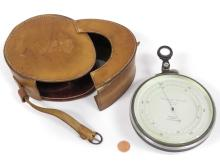 SHORT AND MASON LONDON SURVEYING ANEROID BAROMETER WITH LEATHER CASE. DIAMETER 5
