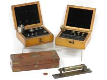 LOT INCLUDING (2) FISHER SCIENTIFIC CASED WEIGHT SETS (INCOMPLETE) AND STANLEY LONDON 1872 BRASS ADJUSTABLE BUBBLE LEVEL AND SCALE, LENGTH 6