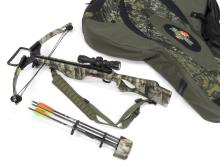 PARKER BUCK-BUSTER HP 175 CROSSBOW WITH HAWKE 3 X 32 MULTI-RETICK SCOPE, QUIVER, ARROWS AND FLAMBEAU CASE
