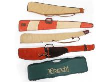 LOT (5) ASSORTED CANVAS AND LEATHER GUN CASES INCLUDING FRANCHI, BOYT, BLACK SHEEP AND MEDALIST
