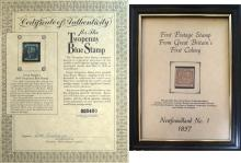 BOX WORLDWIDE STAMP COLLECTION INCLUDING THOUSANDS SORTED IDENTIFIED GLASSINES INCLUDING CERTIFIED GREAT BRITAIN SCOTT #2 AND NEWFOUNDLAND #1, STOCKBOOK PAGES, WWII S.S. SHEETS. OF NOTE: BRITISH INFLUENCE ESPECIALLY CANADA WITH VALUES OVER $20.00