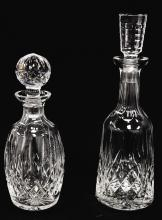 LOT (2) WATERFORD CRYSTAL DECANTERS. HEIGHT 10 1/2