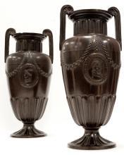 PAIR FERDINAND GERBING NEO-CLASSICAL TERRA-COTTA VASES, SIGNED FGW 1259, C.1850-80. HEIGHT 12 1/2
