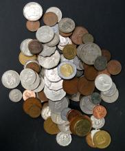 LOT ASSORTED FOREIGN COINS. 7.50 LBS