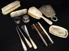 STERLING SILVER DRESSER SET INCLUDING BRUSHES, PERFUME, TRAY, COMBS, ETC