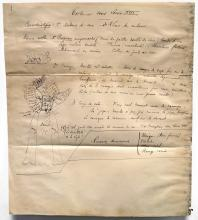 FRENCH SCHOOL (19TH CENTURY), PEN AND INK ARCHIVAL DOCUMENT,