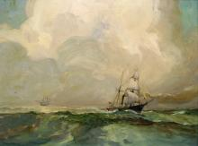 JAMESE ARCHIBALD MITCHELL III (AMERICAN 1932-), OIL ON CANVAS, AUX SAILING SHIP, SIGNED. 22 X 28