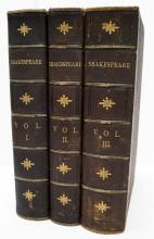 3-VOLUME SET-THE COMPLETE WORKS OF SHAKESPEARE, WILLIAM CULLEN BRYANT, CARSON AND SIMPSON, PHILADELPHIA, 1890, QUARTER LEATHER