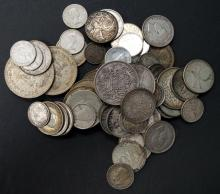 LOT ASSORTED FOREIGN SILVER COINS. APPROXIMATELY 34 OZT