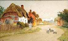 ARTHUR CLAUDE STRACHAN (BRITISH 1865-1929), GRAPHITE AND WATERCOLOR, VILLAGE SCENE WITH SHEEP, SIGNED. SIGHT 10 3/4 X 17 1/2