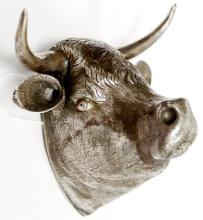 RUSSIAN SILVER HEAD OF A BULL (HEAD/HORNS TEST SILVER; BACK PLATE WITH HANGER HOOK IS NOT SILVER). HEIGHT 4