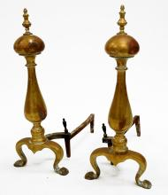 PAIR AMERICAN FEDERAL STYLE BRASS ANDIRONS. HEIGHT 24