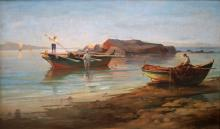 GREEK SCHOOL (20TH CENTURY), OIL ON CANVAS BOARD, FISHERMAN, SIGNED AND LABELED VERSO, C.1958. 20 X 33
