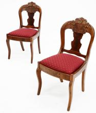 SET (6) VICTORIAN CARVED MAHOGANY SIDE CHAIRS, 19TH CENTURY