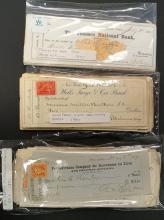 LOT ASSORTED VINTAGE CANCELLED BANK CHECKS INCLUDING THAMES NATIONAL BANK, CONN 1875; WELLS FARGO, ETC.