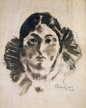 CHAIM GROSS (AMERICAN 1902-1991), CONTE CRAYON ON PAPER, YOUNG WOMAN, SIGNED 1929. SIGHT 10 X 8