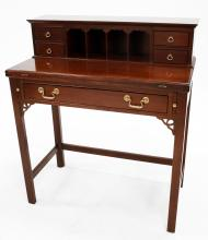 GEORGIAN STYLE CARVED MAHOGANY LADY'S WRITING DESK. HEIGHT 37 1/2