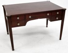 FEDERAL STYLE MAHOGANY DESK WITH CARVED COLUMN LEGS. HEIGHT 29