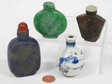 LOT (4) CHINESE SNUFF BOTTLES INCLUDING HARDSTONE AND PORCELAIN. HEIGHT 2 1/4-3 5/8