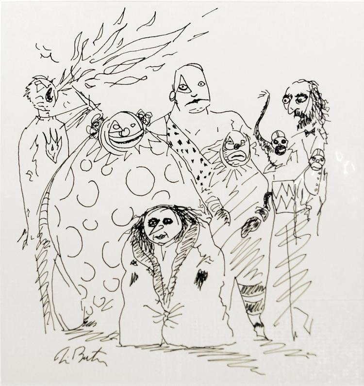 TIM BURTON (AMERICAN 1958-), INK ON PAPER, UNTITLED-CIRCUS PERFORMERS, SIGNED. SIGHT 7 5/8 X 7 1/4