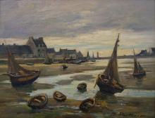 "MARCEL PARTURIER (FRENCH 1901-1976), OIL ON PANEL, ""MAREE BASSE EN BRETAGNE"", SIGNED AND TITLED. 10 1/2 X 13 3/4""; FRAMED 17 X 20"""