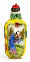 CHINESE CARVED AND HAND DECORATED PEKING GLASS SNUFF BOTTLE, SIGNED. HEIGHT 3 3/8