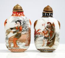 LOT (2) CHINESE HAND PAINTED PORCELAIN SNUFF BOTTLES, SIGNED. HEIGHT 2 1/2