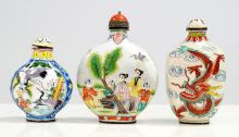 LOT (3) CHINESE CANTON ENAMEL DECORATED SNUFF BOTTLES, SIGNED. HEIGHT 2 5/8-3 1/4