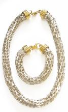 PAIR RETRO DESIGN 925 STERLING NECKLACE AND BRACELET WITH GILT STERLING FINDINGS. LENGTH 18 3/4