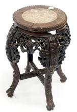 CHINESE CARVED TABOURET WITH MARBLE INSET TOP. HEIGHT 19 1/2