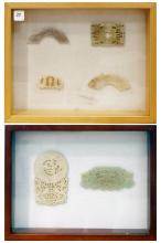 LOT (6) ASSORTED CHINESE JADE/HARDSTONE APPLIQUES, MING/CHING IN (2) SHADOW BOX FRAMES. 12 X 15