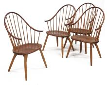 SET (4) CRAFTSMAN MADE OAK/CHERRY SACK-BACK WINDSOR ARMCHAIRS, EACH SIGNED THOMAS MOSER CABINETMAKERS, AUBURN, MAINE 1996