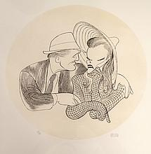 AL HIRSCHFELD (AMERICAN 1903-2003), ETCHING, KATHARINE HEPBURN AND SPENCER TRACY, SIGNED 145/750. DIAMETER 14 3/4