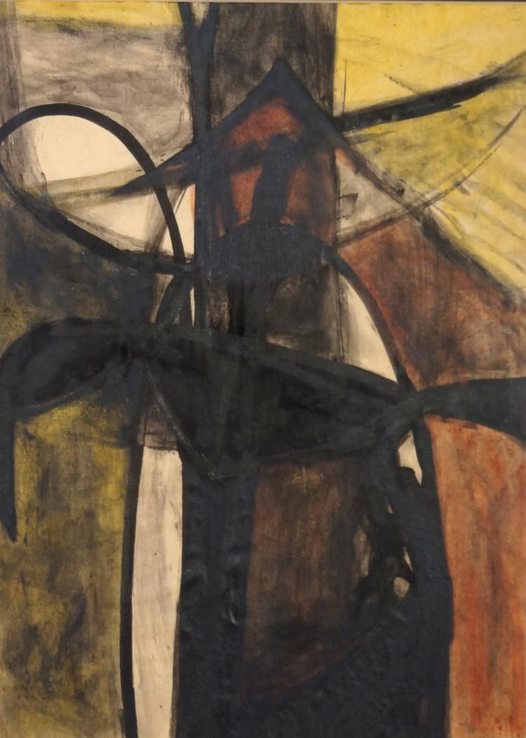 ANNE HELIOFF (AMERICAN 1910-2001), MIXED MEDIA ON PAPER, UNTITLED, ABSTRACT IN BLACK AND GOLD, SIGNED INDISTINCTLY. 15 3/4 X 12 1/2