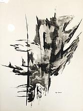 """BOYER GONZALES, JR (AMERICAN 1909-1982) INK AND WASH ON PAPER, UNTITLED ABSTRACT, SIGNED. SIGHT 29 1/2 X 21 1/2""""; FRAMED AND GLAZED 37 X 29"""""""