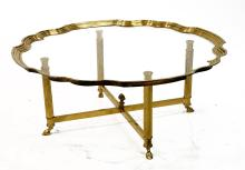 DESIGNER MODERN BRASS AND PLATE GLASS TRAY-TOP LOW TABLE. HEIGHT 18