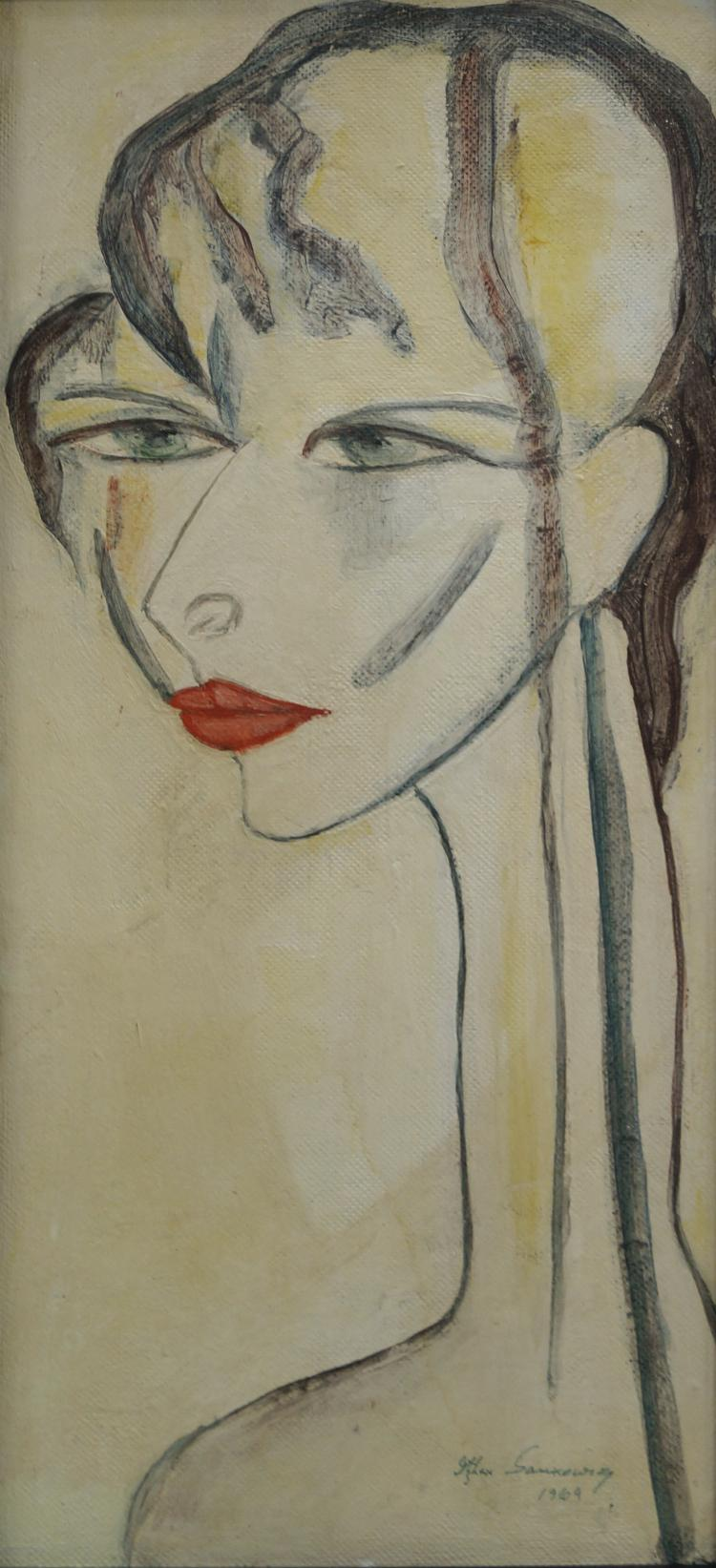ITZHAK SAMKOWSKY (ROMANIAN/AMERICAN 1908-), OIL ON PANEL, YOUNG WOMAN, SIGNED 1969. 20 X 11 1/2