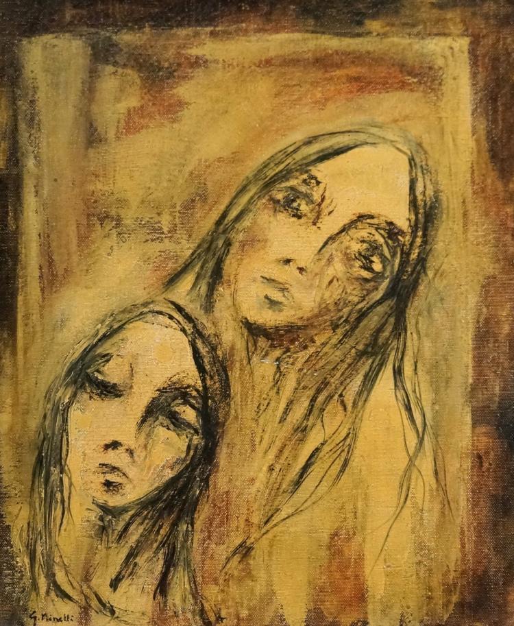 GIAN FRANCO MINELLI (ITALIAN 1931-), OIL ON CANVAS, TWO WOMEN, SIGNED (2X). 20 X 16