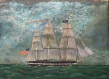 AMERICAN SCHOOL (19/20TH CENTURY), OIL ON CANVAS, US FRIGATE, UNSIGNED. 16 1/2 X 22