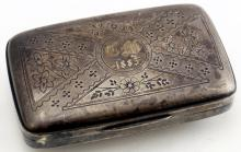 VICTORIAN SILVER SNUFF BOX WITH GILT INTERIOR, MONOGRAMMED AND DATED 1883. 1 3/4 X 3