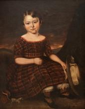 ENGLISH SCHOOL (19TH CENTURY), OIL ON CANVAS, PORTRAIT OF A YOUNG GIRL, UNSIGNED. 36 X 28
