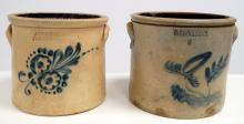 LOT (2) VINTAGE STONEWARE BLUE SLIP DECORATED CROCKS INCLUDING 3 GALLON W.W.& D. WESTON, ELLENVILLE AND 2-GALLON ADAM CAIRE, POUGHKEEPSIE (HAIRLINES/CHIPS)