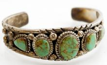 SW AMERICAN INDIAN SILVER CUFF BRACELET WITH TURQUOISE, SIGNED. WIDTH 2 1/2