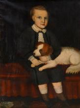 AMERICAN SCHOOL (19TH CENTURY), OIL ON CANVAS, PORTRAIT OF A YOUNG BOY WITH HIS DOG, UNSIGNED. 36 X 27 1/2